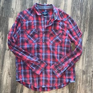 Men's American Eagle Plaid Button Down Shirt LARGE